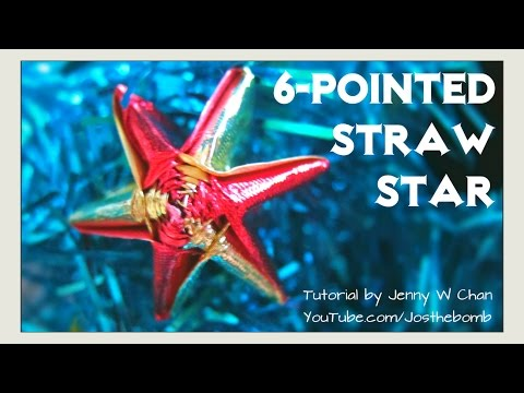 Straw Star - Ribbon Star - How to Make 6-Pointed / 5-Pointed Star (Straws / Ribbon)