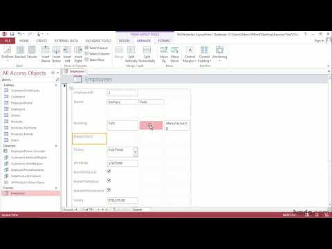 Access 2013 tutorial: Adjusting form elements in Layout view | lynda.com
