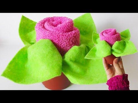 DIY Towel Folding Rose | Washcloth Flower Tutorial | Baby Shower Ideas Flowers