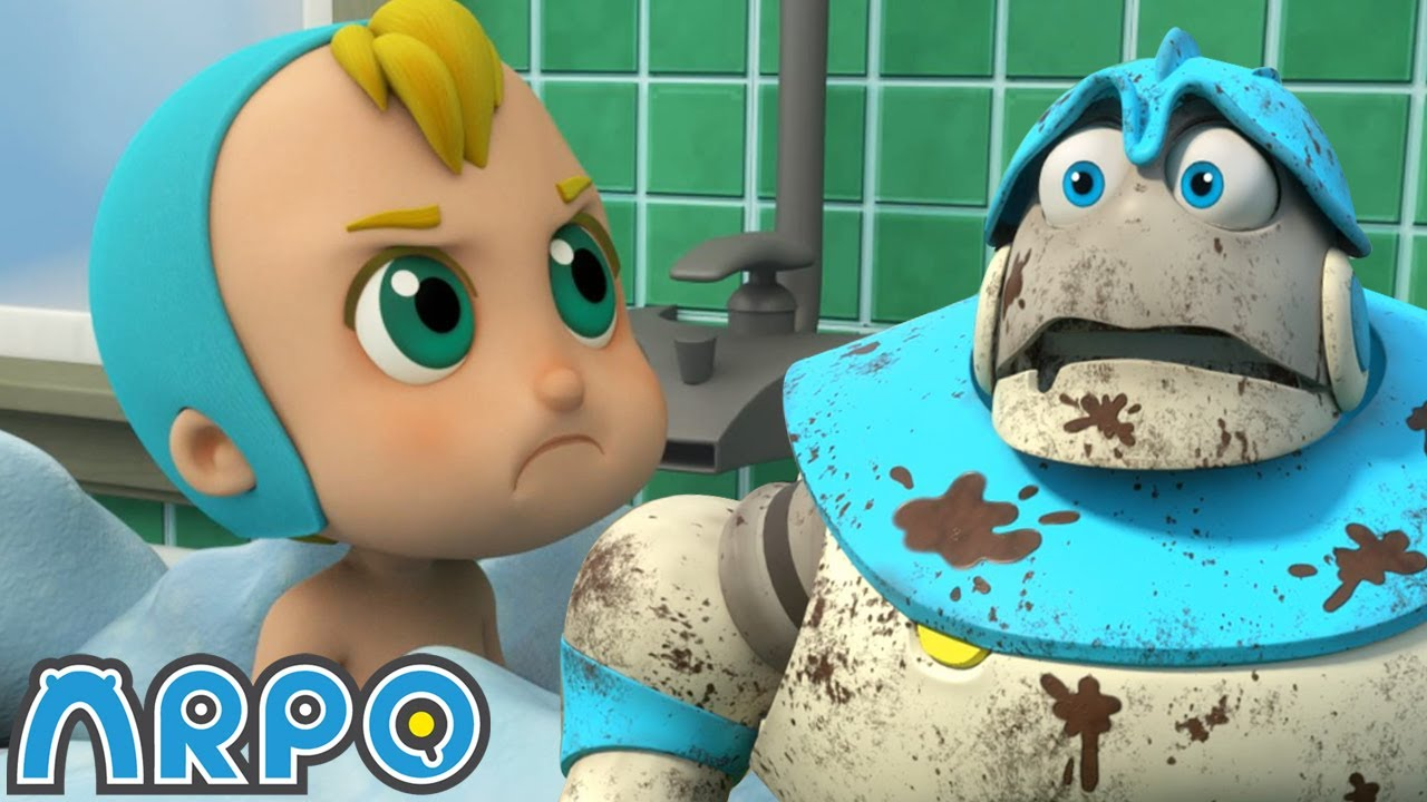 Arpo the Robot   MUST KEEP THE BABY CLEAN!!!!!!   Funny Cartoons for Kids   Arpo and Daniel