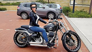 Sexy girl rides a Stage 5 Harley Breakout Ride