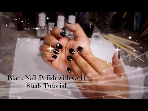 Black with Gold Studs Manicure Tutorial