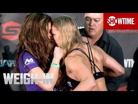 Strikeforce Miesha Tate Vs Ronda Rousey Weigh In Strikeforce Mma