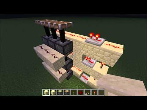 Minecraft Tutorials:How to make a 3x3 Sand/Gravel door 1.7.2! Compact!!(HD)