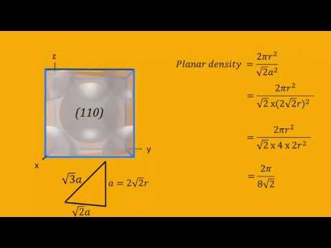 Linear and Planar Densities for Face Centered Cubic (FCC) Unit Cells