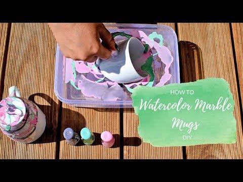 DIY - How to make Nail polish Water Marble Mugs tutorial