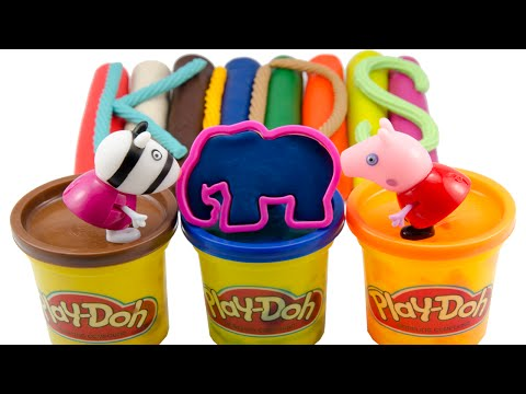 Learn Colors Play Doh Animal Molds with Peppa Pig Toys for Kids