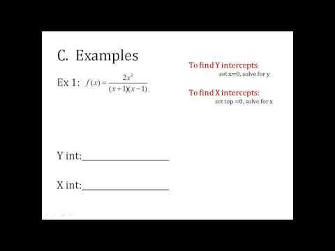 x and y intercepts of rational functions