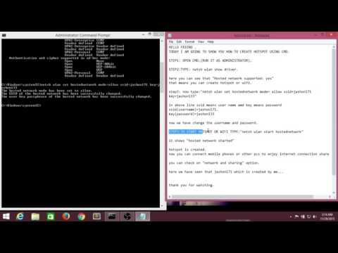 How To Create WIFI Hotspot Using Command Prompt On Windows 8/8.1 (2015)