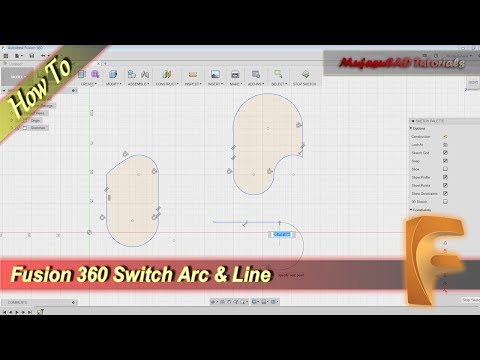 Fusion 360 Switch Line Into Arc Tutorial