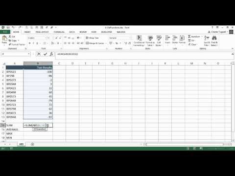 Using Excel's ABS Function with SUM AVERAGE MAX & MIN
