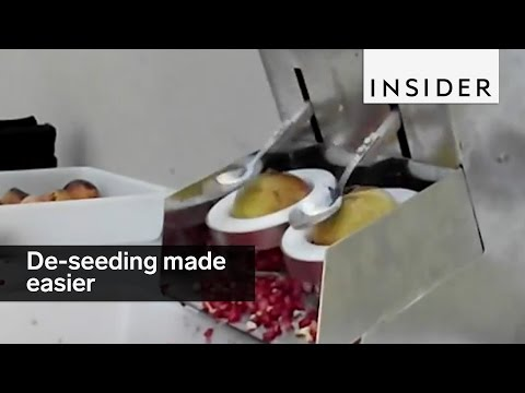 This machine de-seeds pomegranates by whacking them