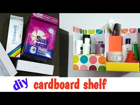 wall shelf/desk making from  cardboard box easily/makeup organizer diy/surf excel box reuse idea