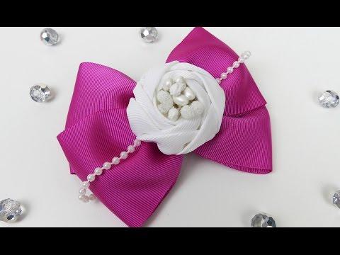How To Make Ribbon Bow I DIY Hair bow I DIY RIbbon Roses I Ribbon Flower Tutorial