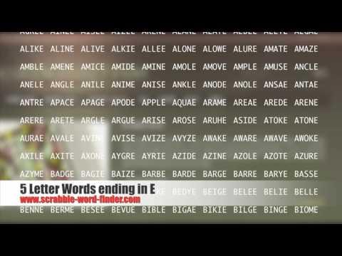 5 letter words ending in e