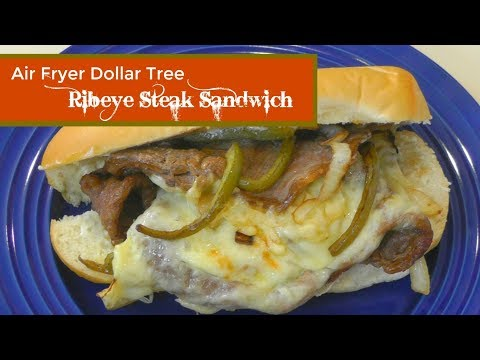 Air Fryer Dollar Tree Ribeye Steak Sandwich ~ Air Fried Dollar Tree Rib eye ~ Amy Learns to Cook