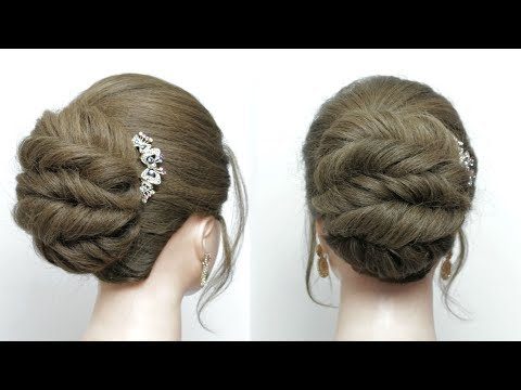 Easy Twisted Bun. Simple Updos For Long  Hair