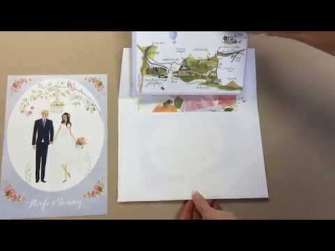 Aoife and Tommy's custom illustrated wedding invitation suite