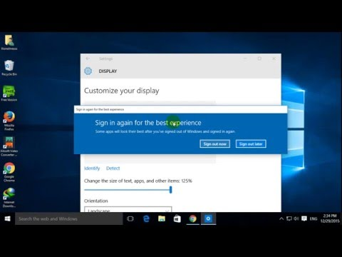 change the size of text, apps and other items windows 10