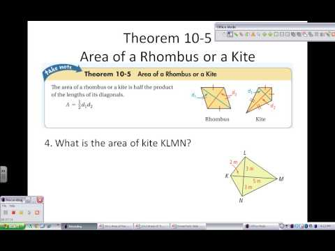 10-2 Areas of Trapezoids, Rhombuses, and Kites