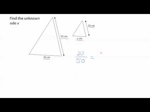 Using proportions to solve similar triangles for an unknown side