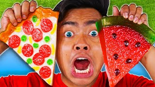 Download EATING ONLY GUMMY FOOD FOR 24 HOURS! Vs Real Food - Challenge Video