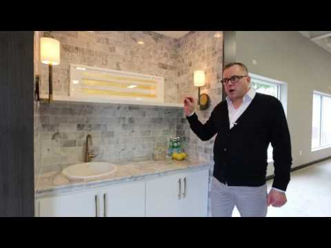 Carrara Marble Tile Design With Brass Accents - Wall Tile Ideas