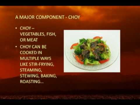 Chinese food elements - fon and choy plus yin and yang