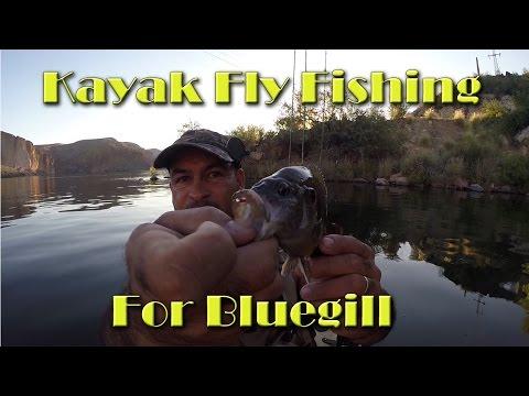 Kayak fly fishing for bluegill