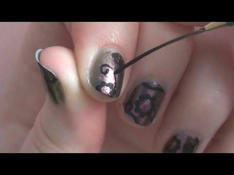 Simple Black Flowers on Short Nails with Rhinestones | ArcadiaNailArt