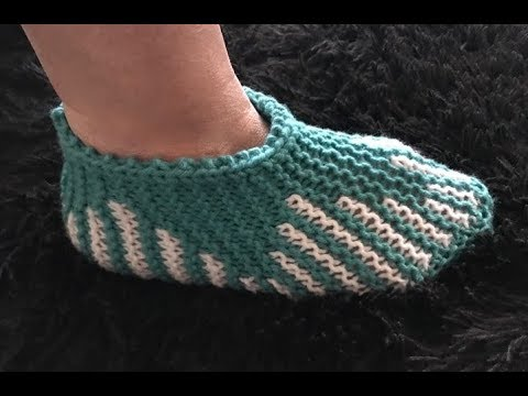 How to Knit Tulip Slippers Pattern #223│by ThePatternFamily
