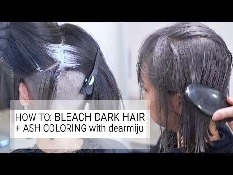 How To Bleach Dark Hair To Ash Grey Blonde Using Fanola Colors