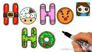 How to Draw Christmas Ho Ho Ho Cookies Easy and Cute