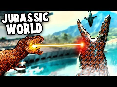 GIANT Mosasaurus vs T Rex in Jurassic World!  (Forts Jurassic Park Mod Gameplay)