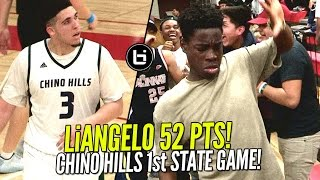 LiAngelo Ball 52 Pts In Chino Hills CRAZY 1st State Game! LaMelo Triple Double + EPIC Dance Battle!