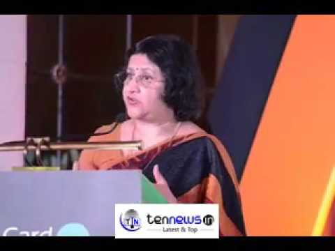 Arundhati Bhattacharya, Chairman of SBI speaks at the launch of