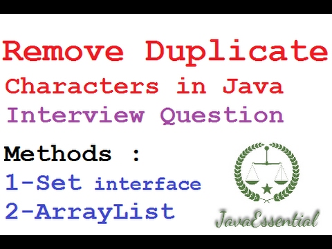 Remove Duplicate character from any String in java Interview Question