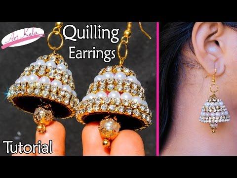 quilling earrings jhumka making | Bridal Jhumkas at Home | Tutorial | Artkala 126