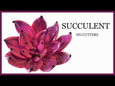 How to Make a Pink/Fuschia Succulent WITHOUT CUTTERS, WITHOUT MOLDS