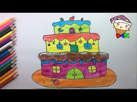 How to Draw a Big House Made of Chocolate Cake Easy - Draw Step by Step