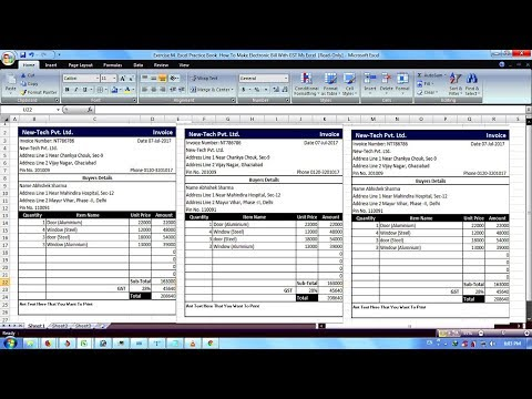 Exercise 63 | Excel Practice Book | How To Make Electronic Bill With GST Ms Excel