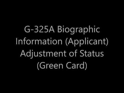 G-325A Biographic Information (Applicant) Adjustment of Status (GreenCard)