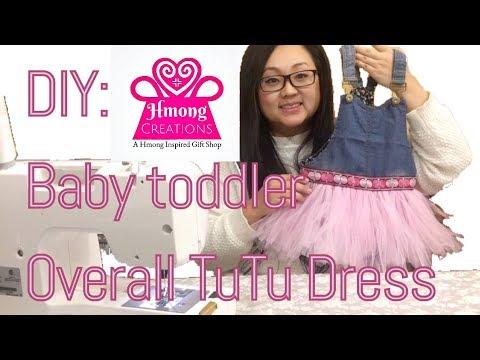DIY baby toddler Overalls Tutu dress With Hmong trim