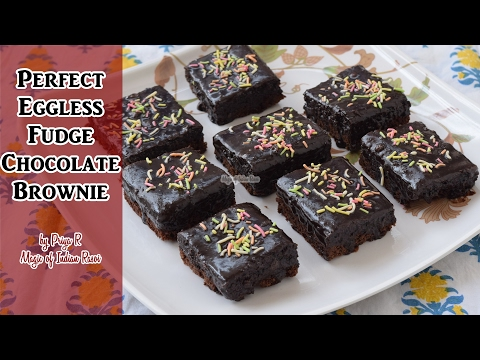 Perfect Eggless Fudge Chocolate Brownie | Priya R | Magic of Indian Rasoi