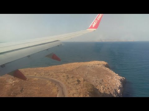 Jet2 LS513 landing at Heraklion Airport in Crete 2016