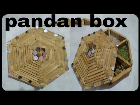 How to make popsicle stick pandan box | Icecream stick craft | jewellery box | HMA##005