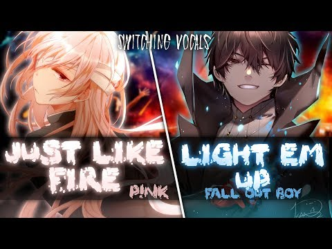 ◤Nightcore◢ ↬ Just Like Fire (Warriors Light Em Up) [Switching Vocals | Mashup]