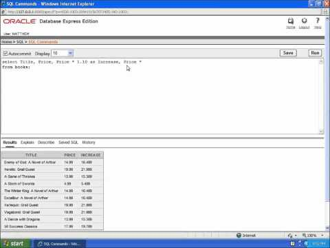 SQL with Oracle 10g XE - Creating Calculated Columns with SELECT