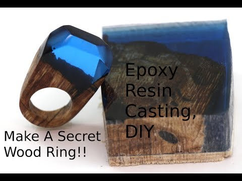 DIY Secret Wood Ring, Casting Epoxy resin wood ring