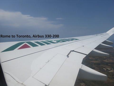 Airbus 330-200 Full Economy flight Alitalia Rome to Toronto July 2016